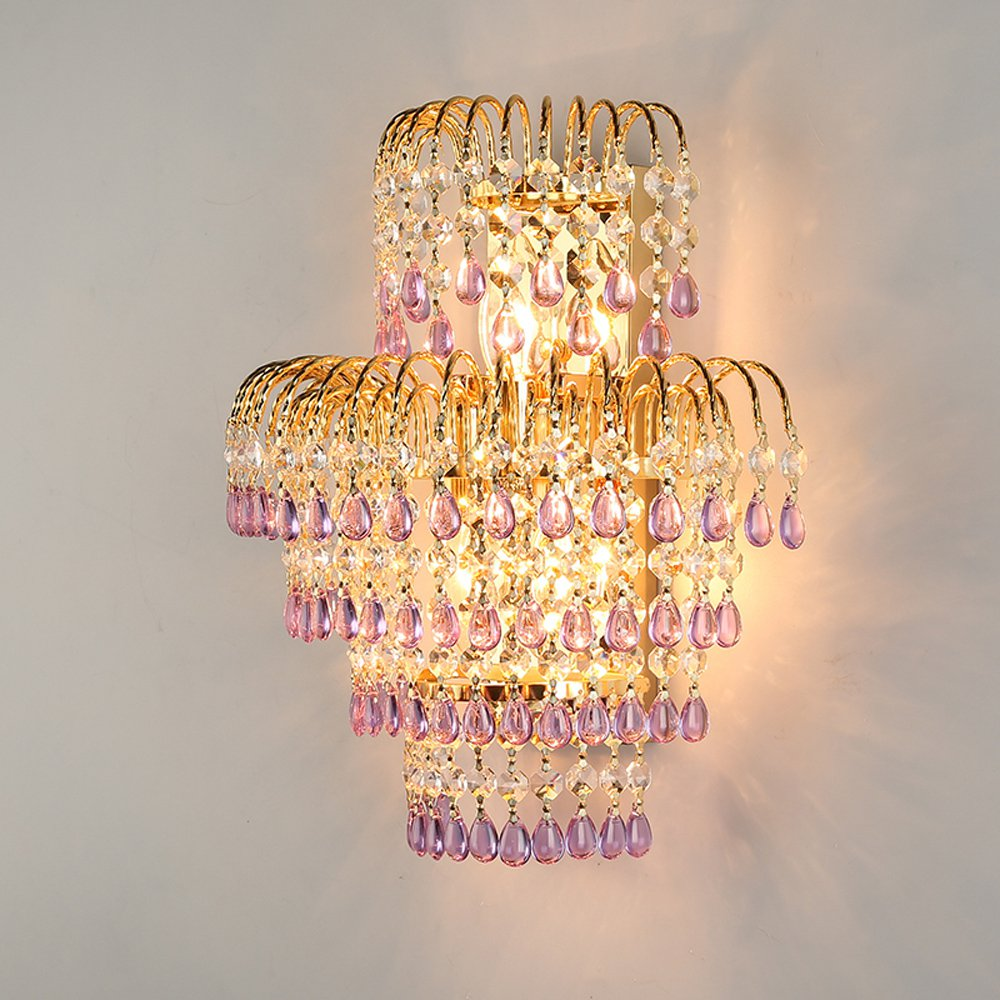 Modern Crystal Crown Bedroom Bedsides Wall Lights Stair Corridor Mirror Front Crystal Wall Sconces Balcony Hallway Wall Lamps