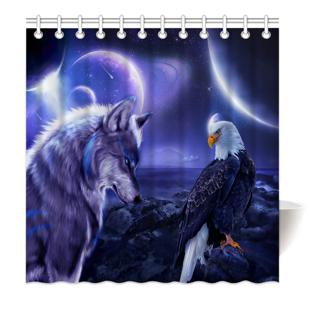 HommomH Shower Curtain Weights Resistant Waterproof Fabric With Hooks Bathroom Wolf Eagle Star Blue