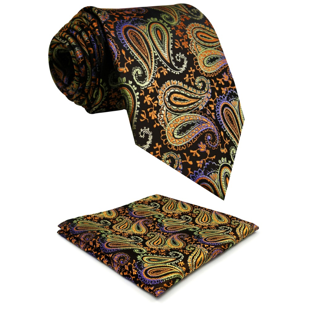 U1 Brown Paisley Pattern Men Ties Matching Hanky Silk Handmade Wedding Classic Brand New Dress Mens Extra Long Size 63 Necktie