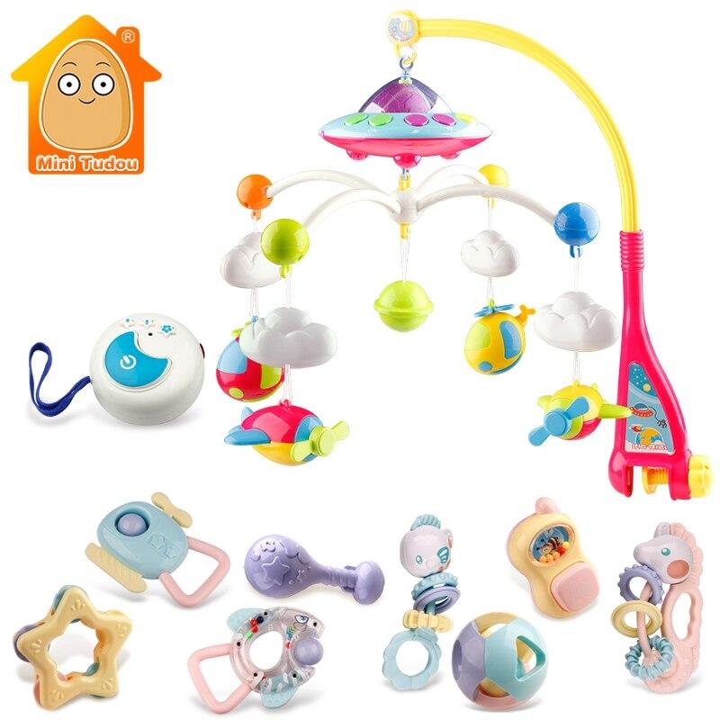 Bébé hochets Mobiles support de jouet rotatif lit de berceau cloche avec Projection de musique pour 0-12 mois nouveau-né infantile