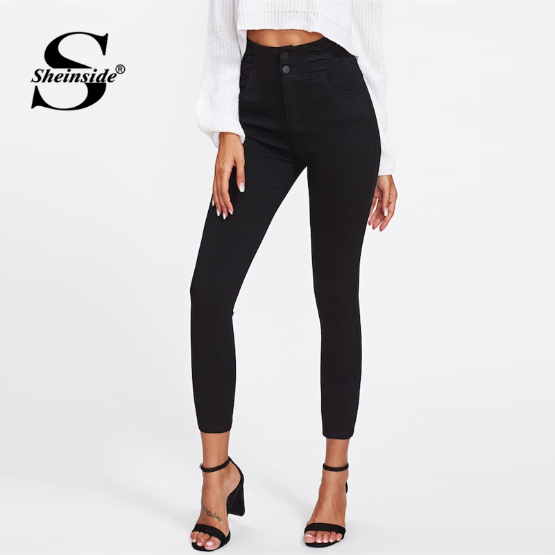 Sheinside Black Single Breasted Skinny Pant Women 2019 Spring Casual High Waist Jeans Ladies Workwear Elegant Basic Crop Jeans