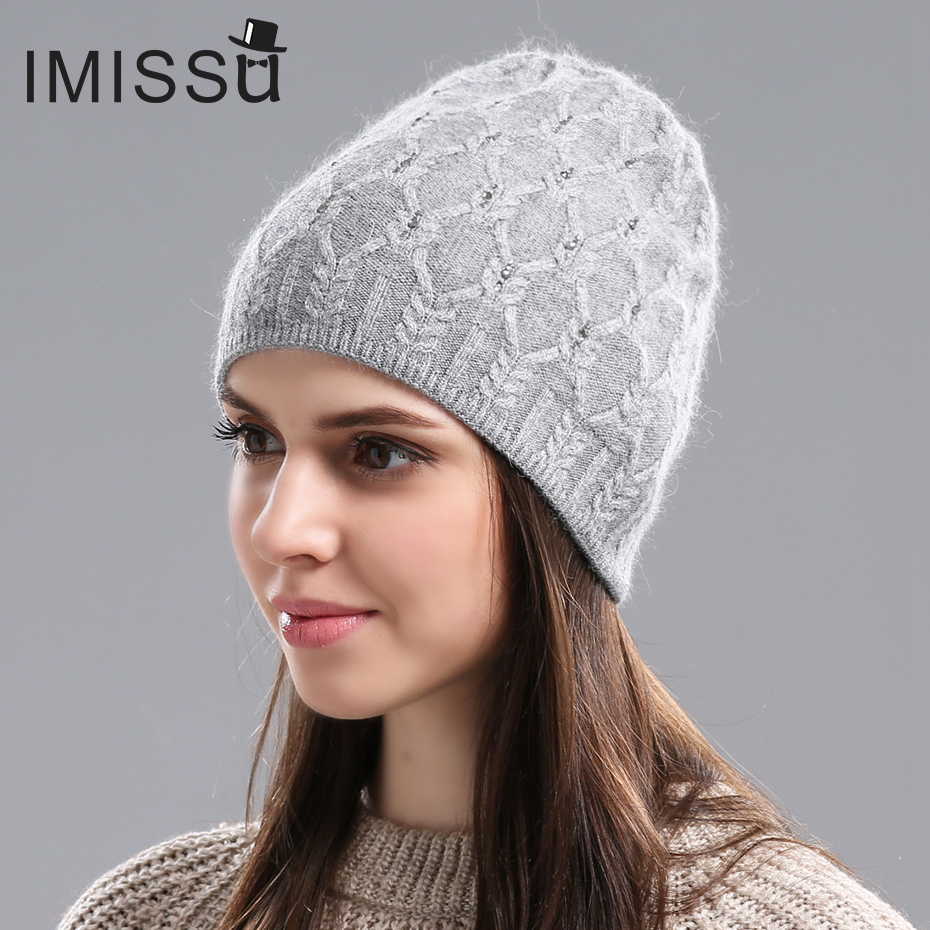 IMISSU Winter& Autumn Real Cashmere   Beanies   Wool Cap for Woman 2017 Brand New Year Fashion Thick Warm HatsFashion   Skullies   Hat