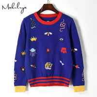Makuluya Casual Women Colorful Sweater Snake Bee Tiger Flower Embroidery Pattern Female Autumn Spring Winter Knitting