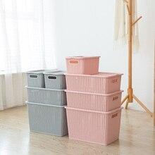 Plastic Rectangular Storage Basket With Cover Handle Rattan Bucket for Desktop Bathroom Kitchen Organizer