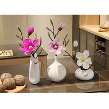 White Modern Tabletop Vase Artificial Magnolia flower Potted set Ceramic vase Small bonsai Artificial Flowers Home Decoration hydrangea simulation small bonsai set ornaments raw silk qiu ju ceramic vase artificial flowers decoration pot living area meal