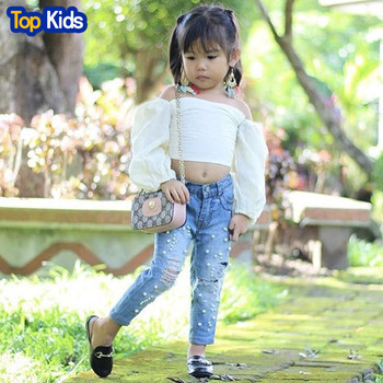 Fashion New Kids Girl Off shoulder Long Sleeve Blouse White T-shirt Tops+Pearl Hole Pant Toddler Girl Kids Clothing Set MB486 1