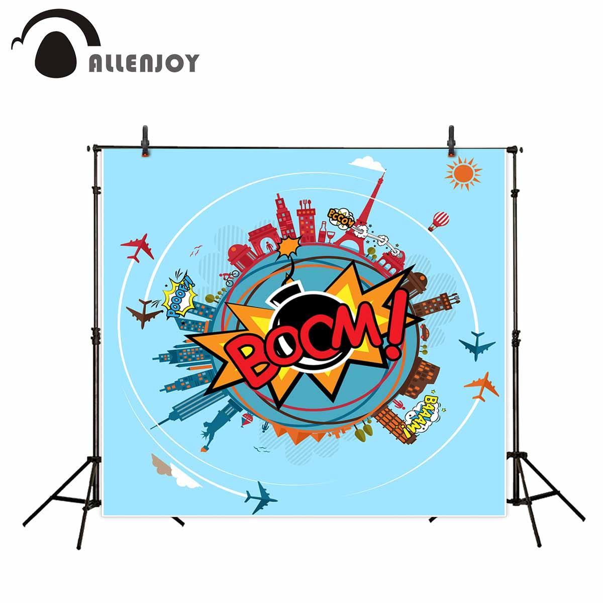 Allenjoy Fotografie Hintergrund Cartoon Boom Blue Earth Flugzeug Karpet Rumah Panda 180 X 250 Ungu Gebude Studio Kamera Fotografica In