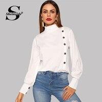 Sheinside рюшами Водолазка белая блузка для женщин однобортный топ с длинными рукавами 2019 повседневное дамы рубашки для мальчиков