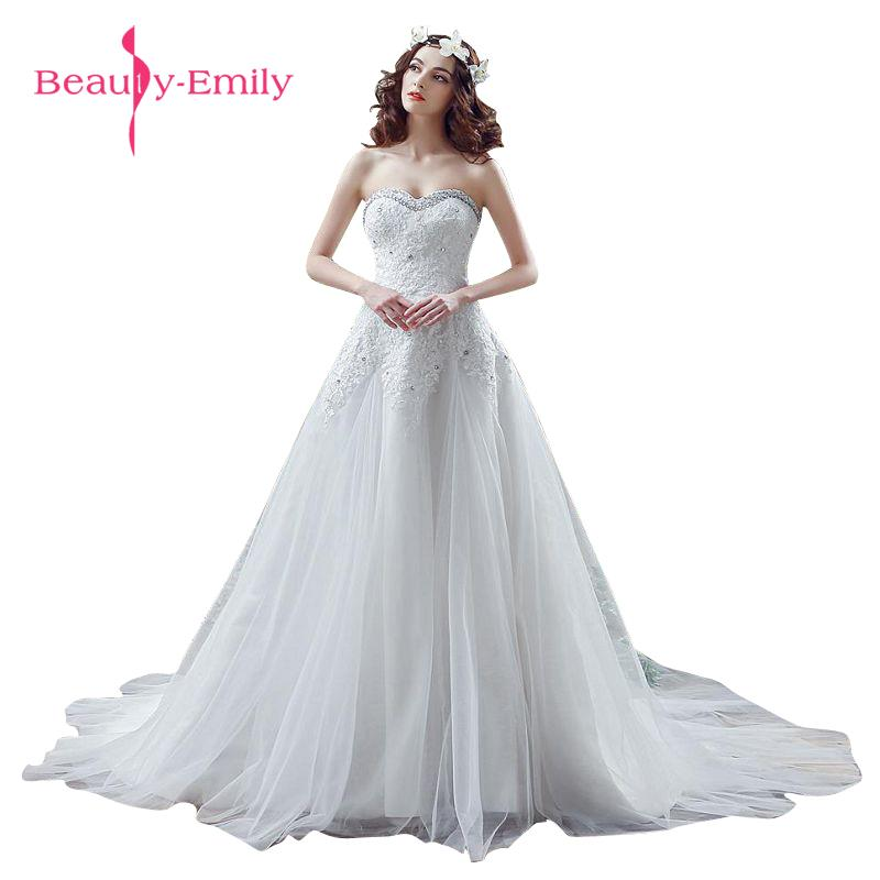 Beauty-Emily White Wedding Party Dresses Lace Up A-Line Sleeveless Wedding Dresses 2017 Court Train Bridal Dresses