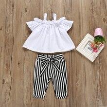 2pcs Toddler Kids Baby Girl Off Shoulder Tops+Striped Pants