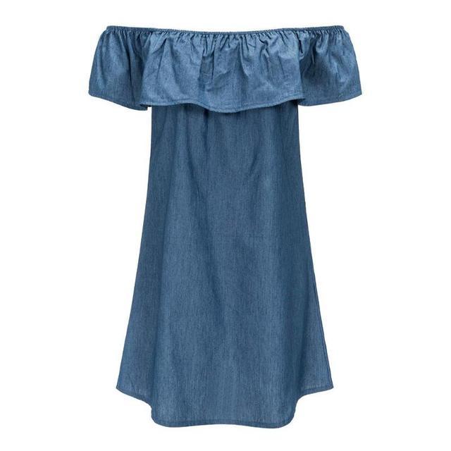 Ruffled Denim Sundress Summer Sexy Off Shoulder Denim Dress Casual Mini A-line Dress Girls Loose Mini Dresses
