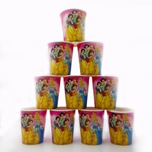 10pcs/lot 6 Princess Party Supplies Paper Cup Cartoon Birthday Decoration Baby Shower Theme Festival For Kids Girls Boys