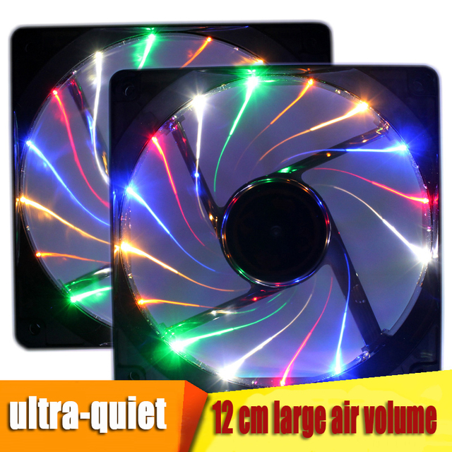2018 new 120mm DC 12V 3pin/4pin high speed quiet PC heat dissipation fan, dazzle color LED box radiator fan