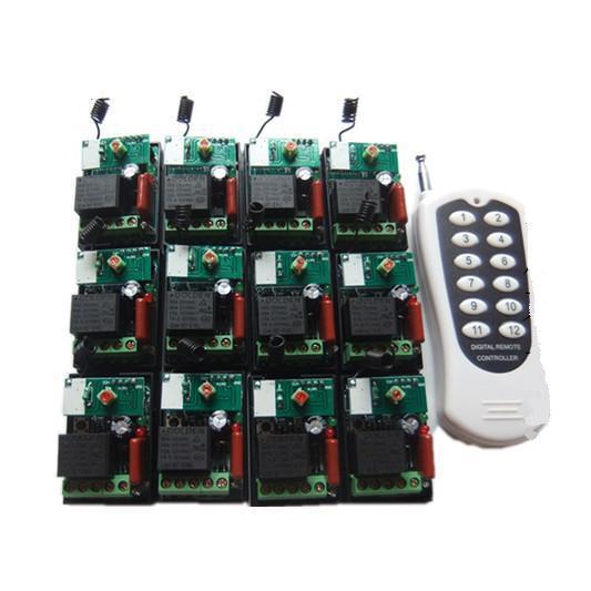 Interrupteur de commande à distance sans fil 12 voies 220 V télécommande de commande de moteur à distance