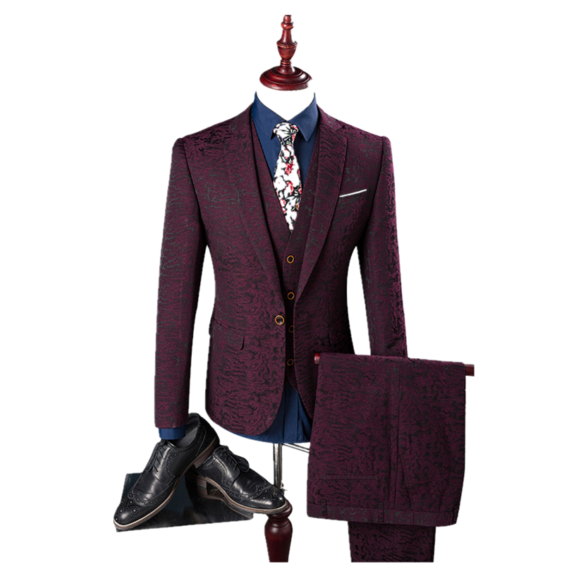 2017 новые сезоны Корейской выращивания трех частей мужчины красное вино марка жених свадебный костюм куртки размер M-4XL