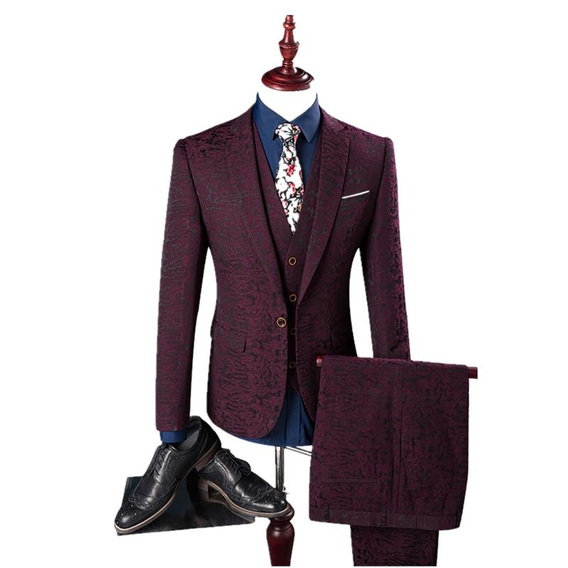 2017 새로운 도착 계절 스타일의 남성 부티크 세 조각 정장 남성 와인 레드 스탬프 신랑 웨딩 슬림 정장 재킷 크기 M - 4XL