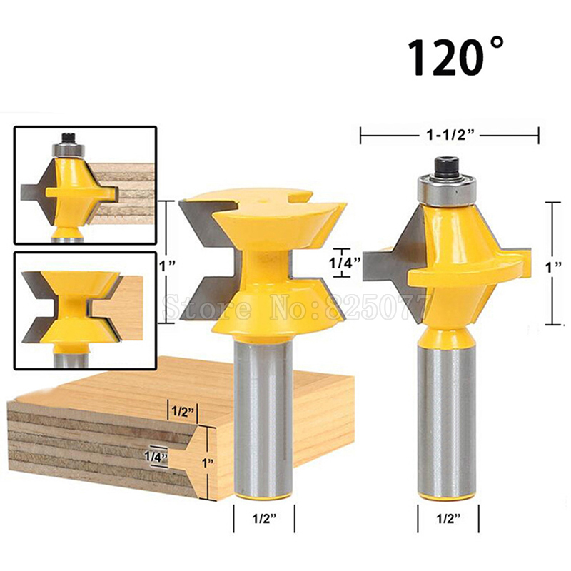 "Купить с кэшбэком 2Pcs 120 Degree 1/2"" Shank Router Bit Tool Set Woodworking Groove Chisel Cutter Tool JF1485"