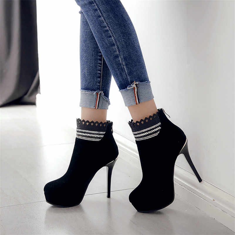 FEDONAS 1New Varış Kadın Seksi Parti Balo dans ayakkabıları yarım çizmeler Sonbahar Kış sıcak Yuvarlak Ayak Kaliteli Yüksek Topuklu Ayakkabılar Kadın