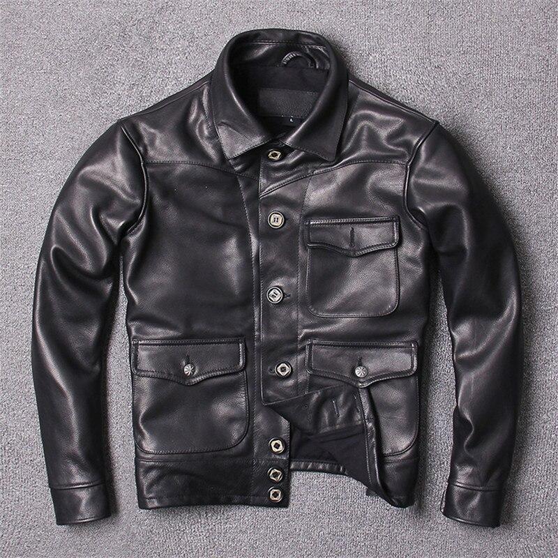 Jacket Natural-Coat Cowhide-Spring Single-Breasted Genuine American Black Slim Casual