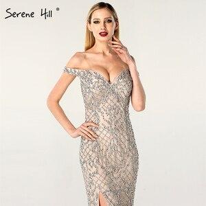 Image 5 - Prata fora do ombro split luxo sereia vestidos de noite 2020 diamante miçangas moda sereno hill la6653