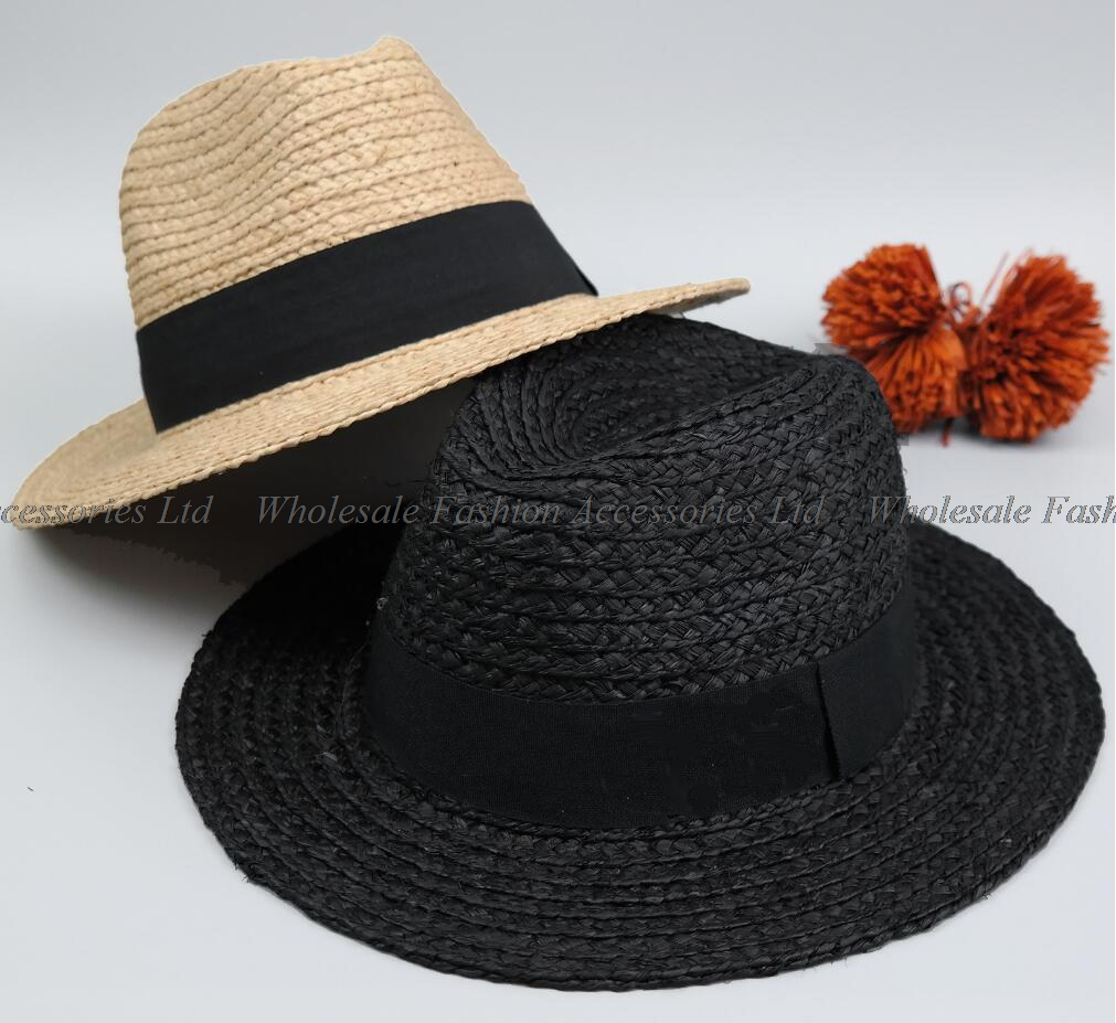 56ce34c86c4d7 8pcs Brand Men Black Raffia Straw Fedora Hats 63cm Big Size XXL Summer  Panama Hat Beach Sun Caps Nature Straw Fedoras Wholesale