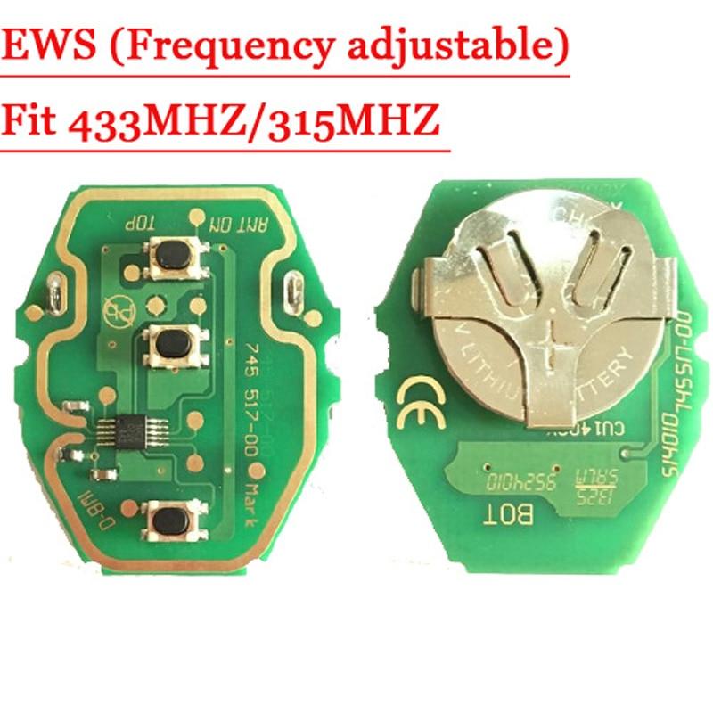 Hurtig forsendelse (2 stk / Lot) EWS-fjernbetjeningskort 315MHz eller 433MHz justerbar 2-i-1 til BW