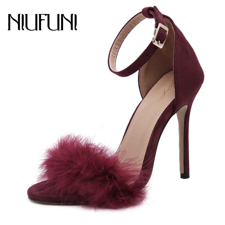 NIUFUNI Wedding-Shoes Sandals High-Heel Fashion Summer Women Hollow Retro Nightclub Sexy