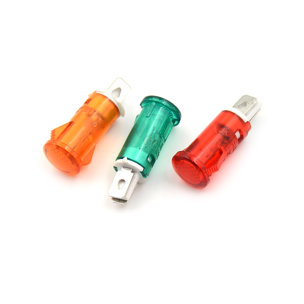 10pcs 220V 110V 12V/24VDC Panel Mounting Neon Indicator Red Green Yellow Lights 10mm MDX-11A Pilot Guiding Signal Lamp