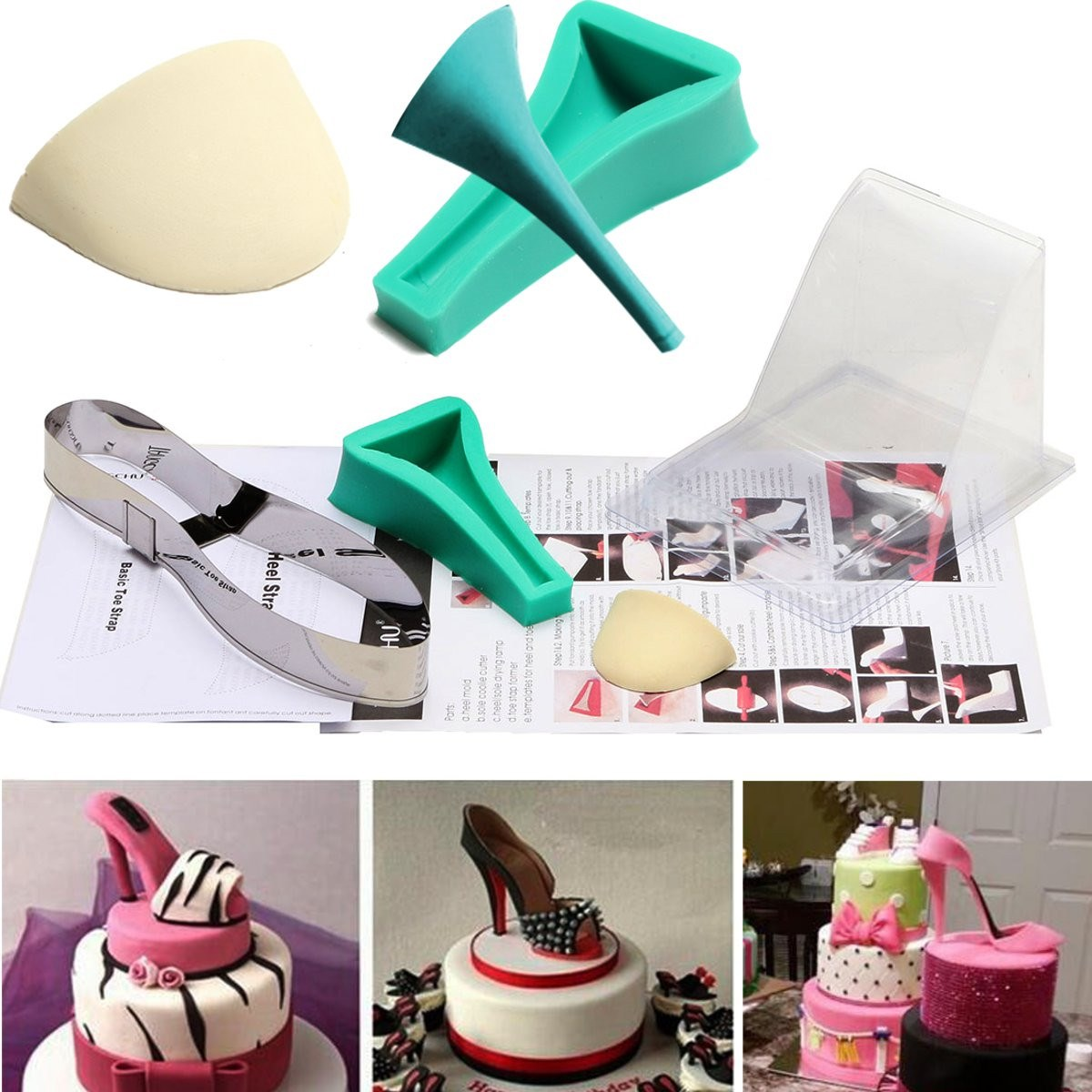 Fondant cake 3d silicone stilleto high heel mould lady for 7p decoration