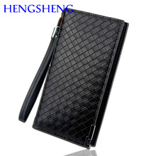 Free shipping HENGSHENG luxury coffee leather men wallet of zipper men handbag for card phone holder male walllet men handbag