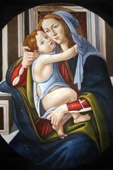 Madonna and Child (1) by Sandro Botticelli Canvas Wall Art Painting Portrait Home Decoration Hand Painted 100%
