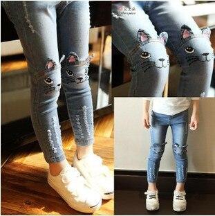 2015 Дети джинсы весна лето рваные случайные дети мультфильм кошка мышь мальчик брюки Узкие брюки детские девушки разорвал джинсы узкие синий