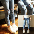 2015 Kids jeans spring summer torn casual children cartoon cat mouse boy pants Slim trousers baby girls ripped denim skinny blue