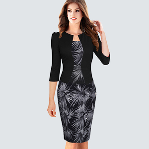 Image 2 - Tek parça yanlış ceket kadın ekose ofis elbise kadın sonbahar kış Vintage kıyafetler bayan Bodycon kalem gömme elbiseler HB237