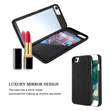 Lady Make Up Cosmetic Mirror Phone Case For iPhone X 8 7 Wallet Case Card Slot Holder Stand Flip Cover For iPhone 7 8 Plus Case(China)