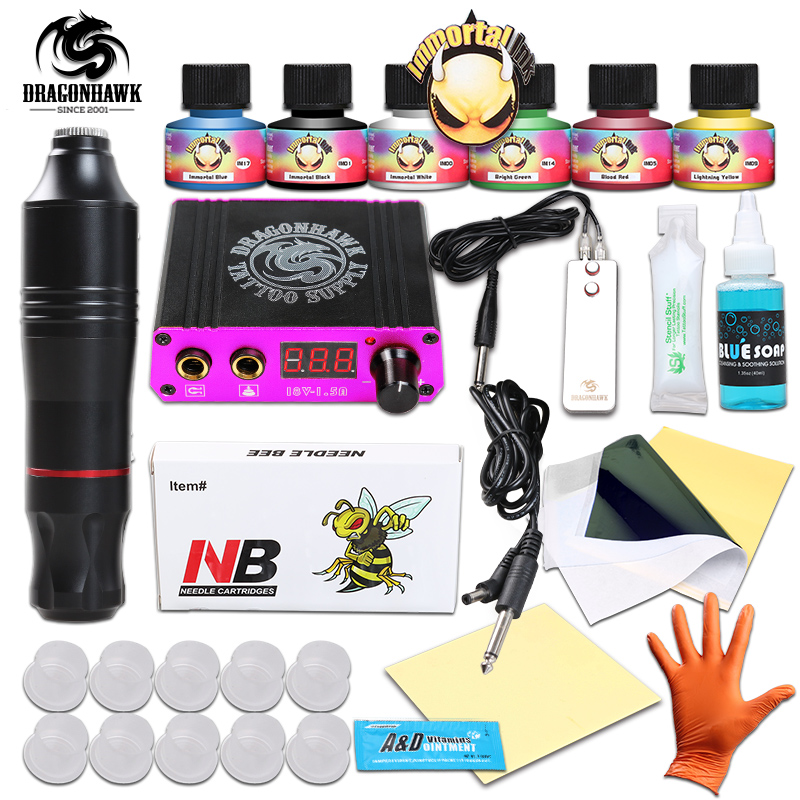Professional rotary pen tattoo kit 6 color immortal tattoo for Where to get tattoo supplies
