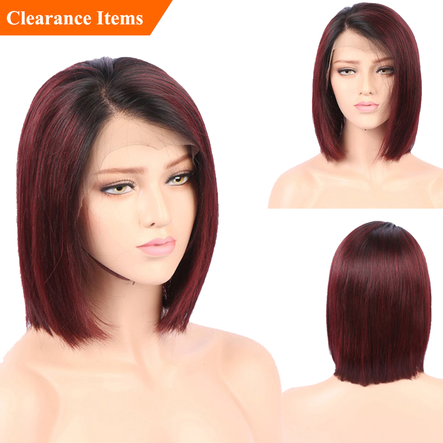 SHD Red Lace Front Short Human Hair Wigs For Black Women Straight Lace Front Wig Ombre
