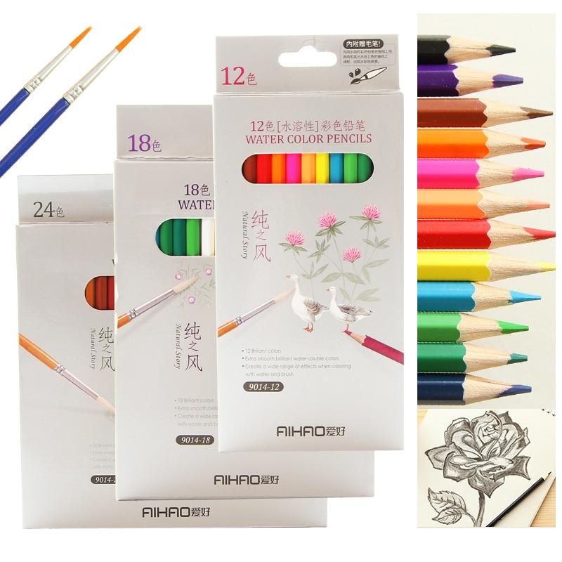 все цены на High-quality water-soluble watercolor pencils colored pencils 12 18 24 36 48 colors colored pencils lapices de colores lapis