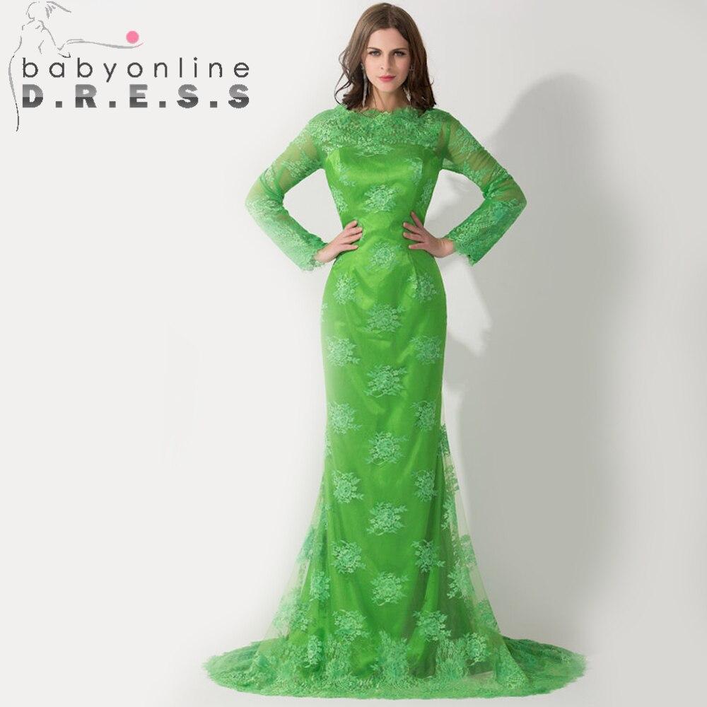 Caftan musulman Sexy Dubai sirène à manches longues Robe de soirée vert saoudien arabe Robe de soirée robes de soirée islamique Robe de soirée