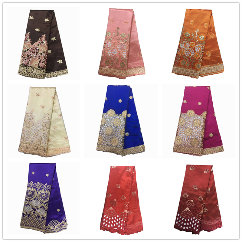 Newest Special Design Gold Sequin George Lace Fabric Embroidered High Quality Silk African George Lace Fabric 5 Yards/lot