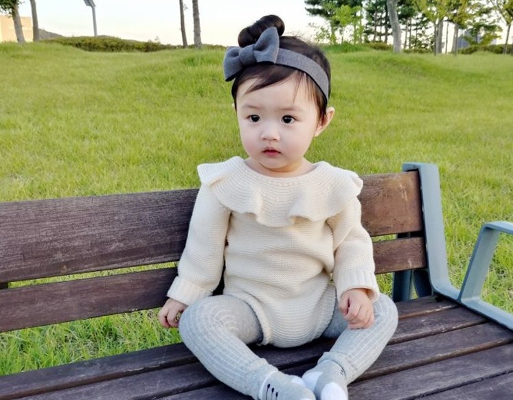 c2496f045 Baby Girl Romper Autumn New Born Baby Knitted Romper Ruffle Long ...