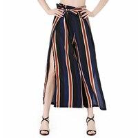 Women Bottoms High Waist Split Wide Leg Pants Sexy Loose Bow Tie Striped Casual Boho Soft