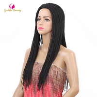 Golden Beauty 2X Twist Braids Wig Nature Black Long Synthetic Hair Wigs for Women 22inch