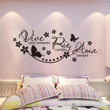 Spanish Vinyl Wall Stickers Saying Vive Cada Momento Rie Cada Dia Ama Siempre Wall Decal Poster