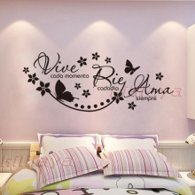 Spanish Vinyl Wall Stickers Saying Vive Cada Momento Rie Cada Dia Ama Siempre Wall Decal Poster For Living Bedroom House Decor
