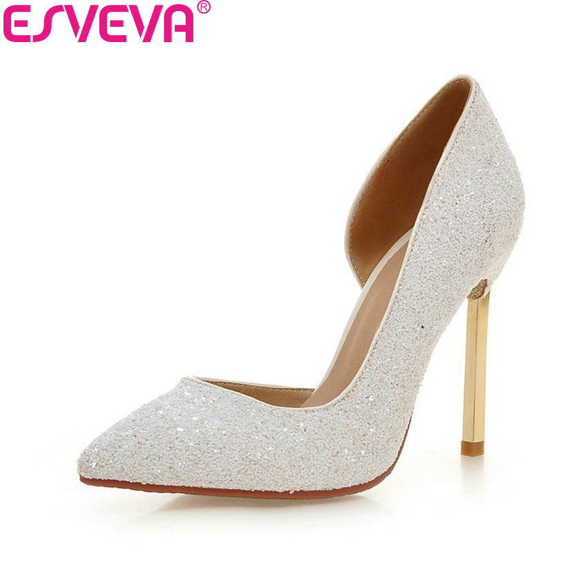 все цены на ESVEVA 2018 Women Pumps Shoes Sexy Blingbling PU Elegant Slip on Thin High Heels Pointed Toe Party Ladies Pumps Shoes Size 34-43 онлайн