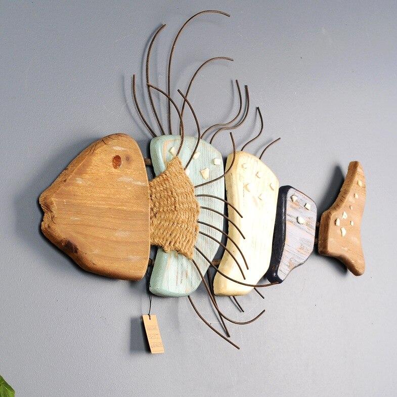 Zwierzęta morskie głębokie ryby morskie ozdoby ścienne drewniany Mural Cartoon dekoracyjne kreatywny Model ozdoba do powieszenia na ścianie prezent X'max w Figurki i miniatury od Dom i ogród na AliExpress - 11.11_Double 11Singles' Day 1