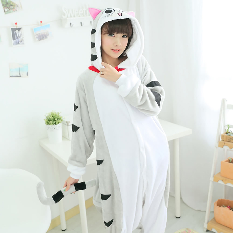Women Carton Unicorn Pajamas Sets Flannel animal Pajamas Kits Cheese Cat Onesies Adult Winter Whole Sleepwear Carton Unicorn