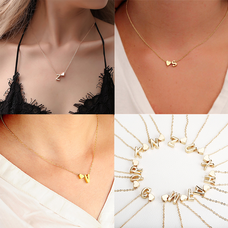 Fashion Tiny Dainty Heart Initial Fine Necklace Personalized Letter Necklace Name Jewelry Women Accessories Girlfriend Gift