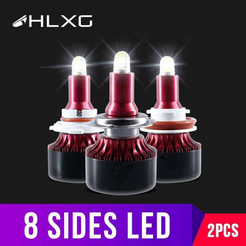 hlxg 8Sides CSP 13500LM H8 H11 Fog lights h7 LED Headlight HB3 9005 HB4 H3 5202 880 881 H27 LED H1 9012 HID2 Auto Lamp 12V 6000K